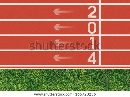 Number on the start of a running track from bird's perspective - stock photo
