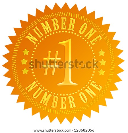 Number one gold seal - stock photo