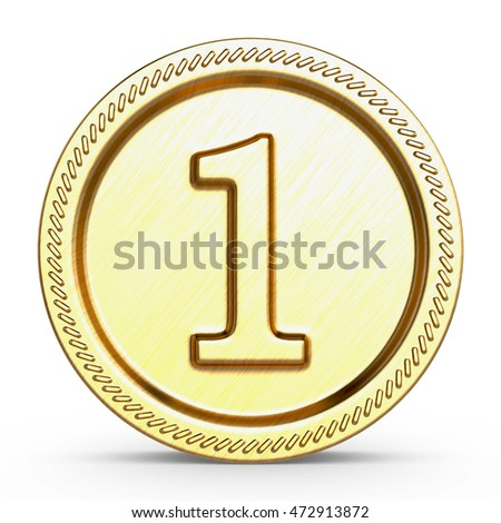 Number one medal champion success icon. 3d illustration