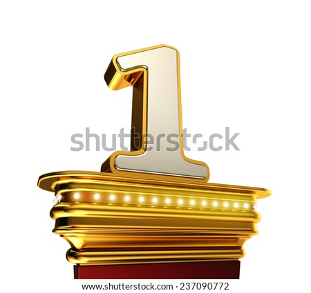 Number One on a golden platform with brilliant lights over white background