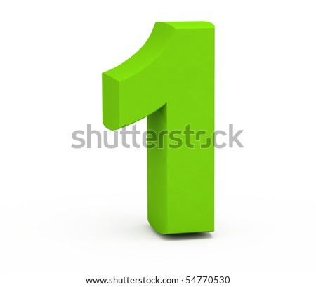 Number one on a white background.