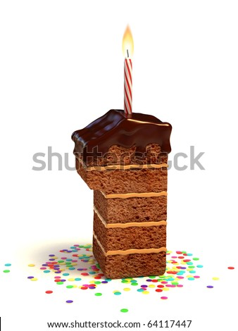 number one shaped chocolate birthday cake with lit candle and confetti