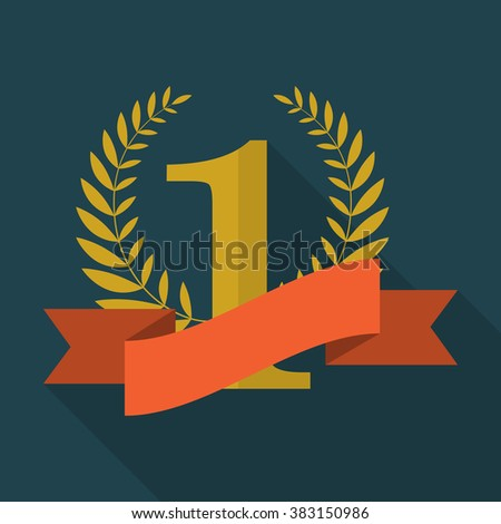 Number one with ribbon and laurel wreath. Red ribbon award for winner. Flat design illustration - stock photo