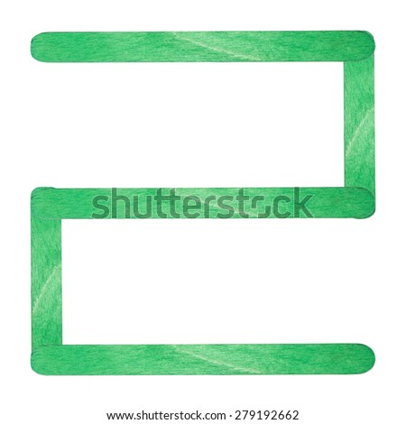 Number 2 separated by green wood stick on isolated white background