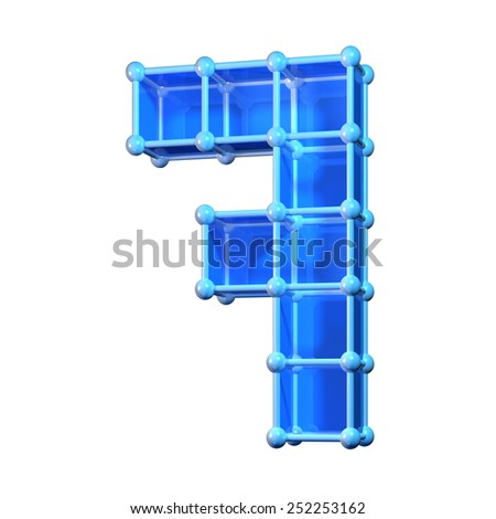 Number seven, 7. 3D molecular structure. Numerals isolated on white background. - stock photo