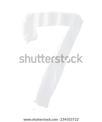 Number seven digit character hand drawn with the oil paint brush strokes isolated over the white background - stock photo