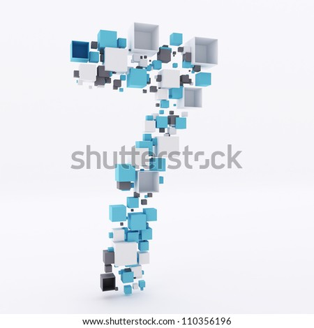 Number Seven Made of Cubes 3d - stock photo