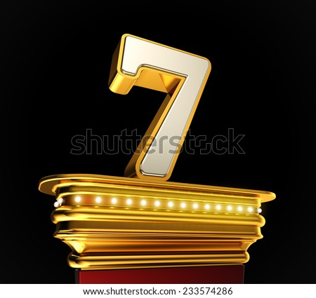 Number Seven on a golden platform with brilliant lights over black background - stock photo