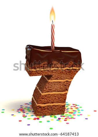 number seven shaped chocolate birthday cake with lit candle and confetti - stock photo