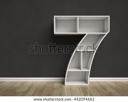 Number 7 shaped shelves 3d rendering - stock photo