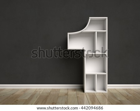 Number 1 shaped shelves 3d rendering