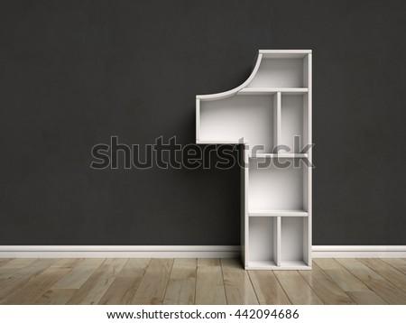 Number 1 shaped shelves 3d rendering - stock photo