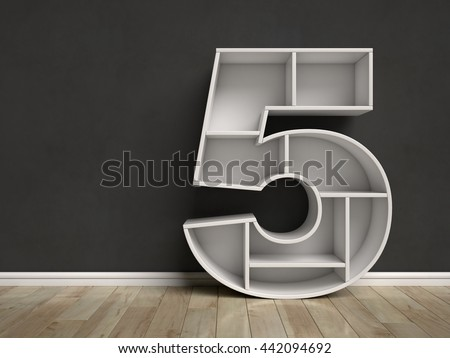 Number 5 shaped shelves 3d rendering - stock photo