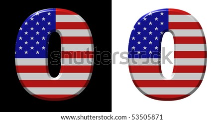 Number 0 showing USA flag - stock photo