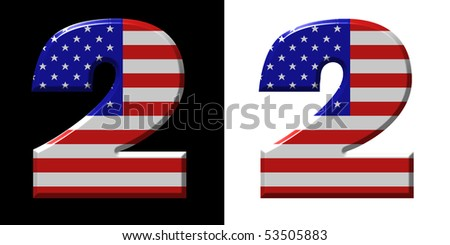 Number 2 showing USA flag