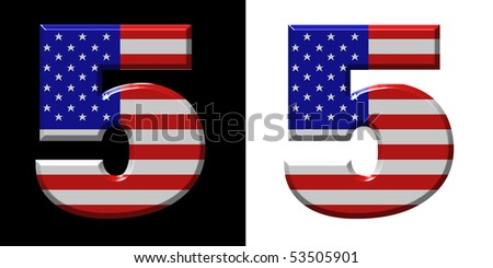 Number 5 showing USA flag - stock photo