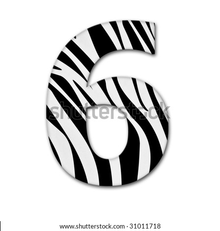 Number six. Made of animal print. It has a clipping path - stock photo