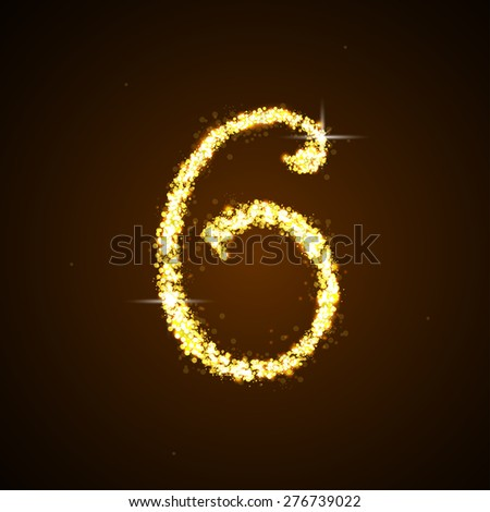 Number six of gold glittering stars - stock photo