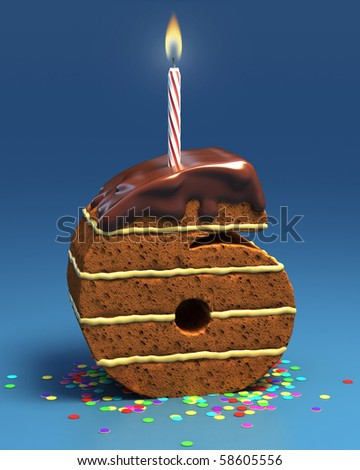 number six shaped birthday cake with candle - stock photo