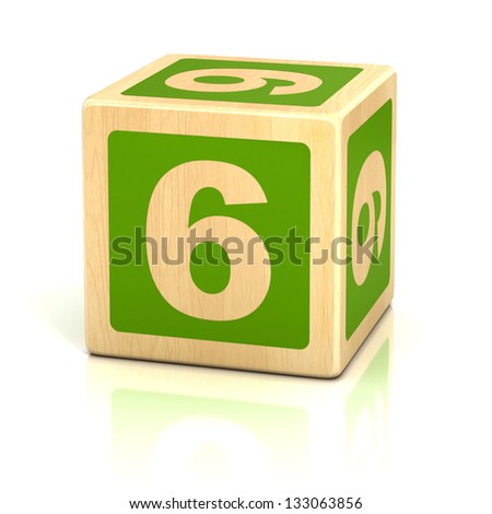 number six 6 wooden blocks font - stock photo