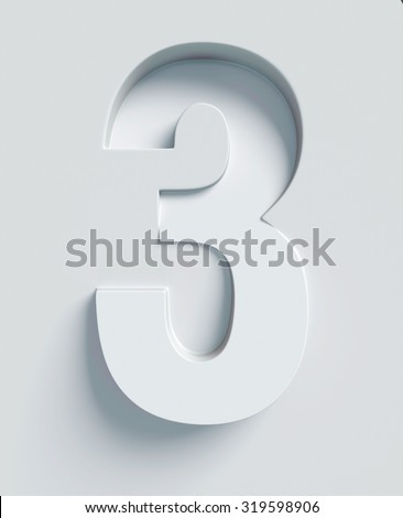 Number 3 slanted 3d font engraved and extruded from the surface - stock photo