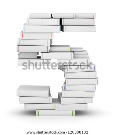 Number 5, stacked from many blank title books in column - stock photo