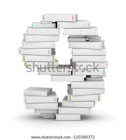 Number 9, stacked from many blank title books in column - stock photo