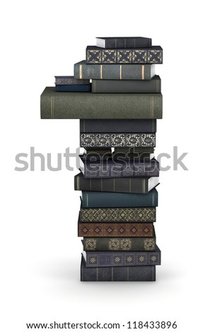 Number 1, stacked from many  books in pile - stock photo
