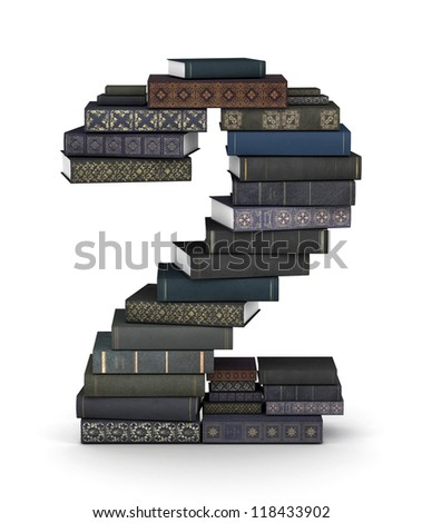 Number 2, stacked from many  books in pile - stock photo
