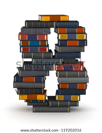 Number 8, stacked from many encyclopedia books in pile - stock photo