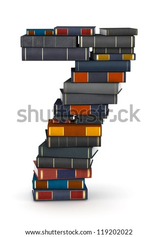 Number 7, stacked from many encyclopedia books in pile - stock photo