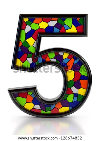Number 5 symbol with multicolored mosaic tiles, isolated on white background. - stock photo