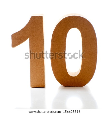 Number Ten on a white background - stock photo