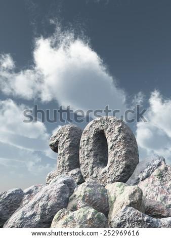 number ten rock under cloudy blue sky - 3d illustration - stock photo