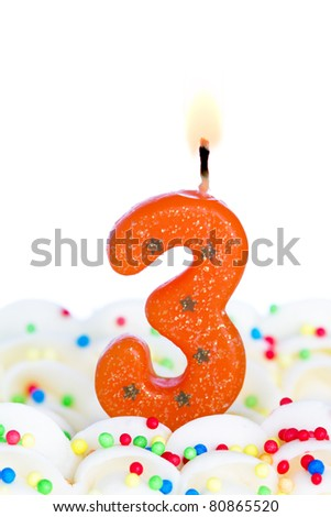 Number three candle - stock photo