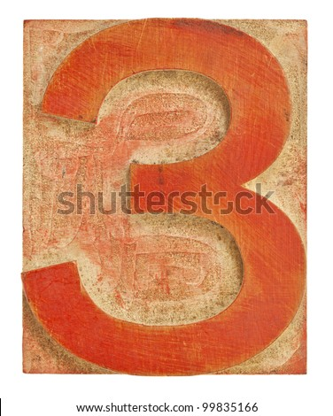 number three - isolated letterpress printing block stained by red ink - stock photo