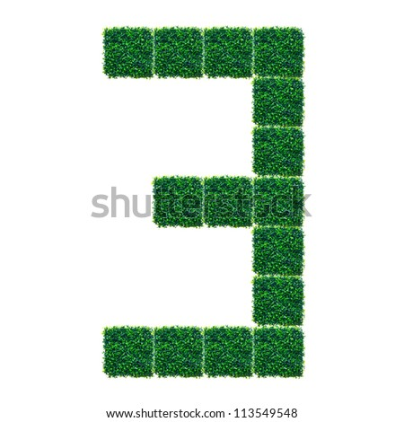 Number Three made from Artificial Grass on white background.