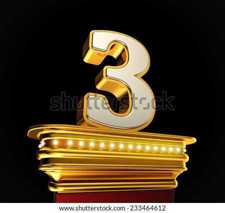 Number Three on a golden platform with brilliant lights over black background - stock photo