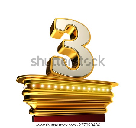 Number Three on a golden platform with brilliant lights over white background - stock photo