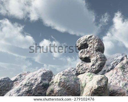number three rock under cloudy blue sky - 3d illustration - stock photo
