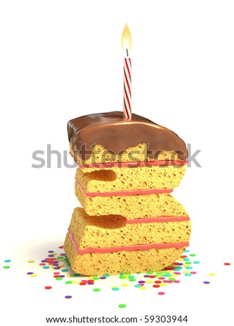 number three shaped chocolate birthday cake with lit candle and confetti - stock photo