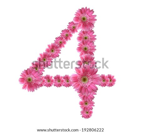 Number 0 to 9 from pink gerbera flowers alphabet isolated on white background - stock photo