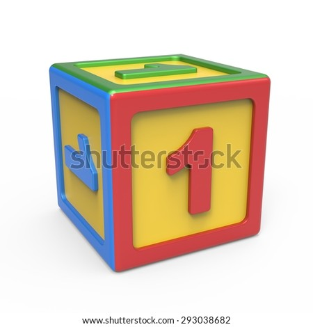 Number toy block - number 1 - stock photo