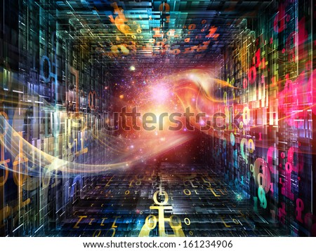 Number Tunnel series. Composition of colorful numbers and light waves in perspective suitable as a backdrop for the projects on computers, mathematics, science and education - stock photo