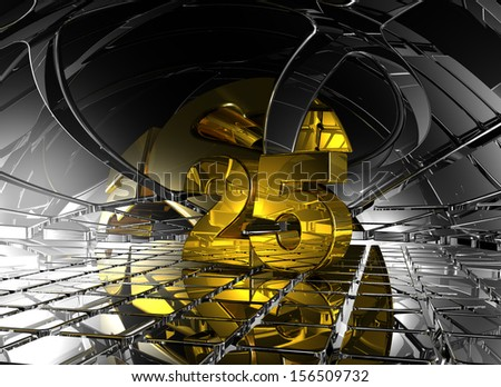 number twenty five in abstract futuristic space - 3d illustration - stock photo
