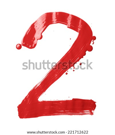 Number two digit character hand drawn with the oil paint brush strokes isolated over the white background