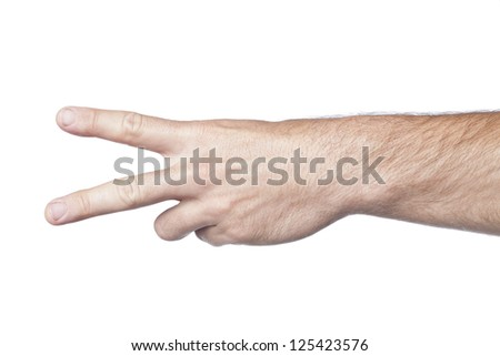 Number two, hand gesture in a close-up image