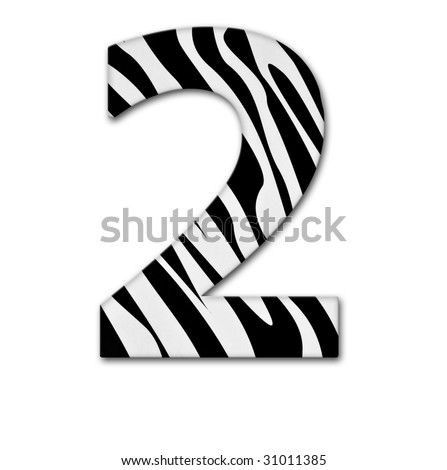 Number two. Made of animal print. It has a clipping path - stock photo