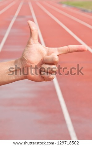 Number Two on Running Track Arena - stock photo