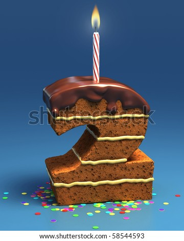 number two shaped birthday cake with candle - stock photo